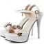 รองเท้าส้นสูงแต่งดอกไม้สีชมพู/ดำ/ขาว ไซต์ 34-39 thumbnail 11