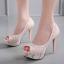 รองเท้าส้นสูงคัดชูผ้าลูกไม้ติดเพชรสีชมพู/ดำ ไซต์ 34-39 thumbnail 4