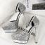 รองเท้าส้นสูงเกร็ดเพชรแน่นสีดำ/ขาว/เงิน/ทอง/แชมเปน ไซต์ 34-39 thumbnail 9