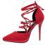 รองเท้าส้นสูงปลายแหลมสายผูกไขว้หน้าสีแดง/ดำ/เทา/เขียว ไซต์ 34-39 thumbnail 3