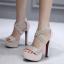 รองเท้าส้นสูงสายคาดแต่งคริสตัลเม็ดเล็กสวยหรู สีครีม/ดำ ไซต์ 35-39 thumbnail 2