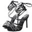 รองเท้าส้นสูงสายคาดติดคริสตัลสีน้ำตาล/ดำ ไซต์ 35-40 thumbnail 8