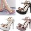 รองเท้าส้นสูงแต่งดอกไม้สีชมพู/ดำ/ขาว ไซต์ 34-39 thumbnail 1