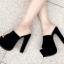 รองเท้าส้นสูงแบบสวมสีดำเสริมหน้าเยอะเดินสบาย ไซต์ 34-38 thumbnail 3