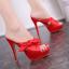 รองเท้าส้นสูงแบบสวมสีชมพู/แดง/ดำ ไซต์ 34-39 thumbnail 2