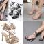 รองเท้าส้นสูงสายคาดติดคริสตัลสีน้ำตาล/ดำ ไซต์ 35-40 thumbnail 1