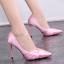 รองเท้าส้นสูงปลายแหลมผ้าซาตินสีชมพู/ดำ ไซต์ 34-39 thumbnail 4