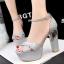 รองเท้าส้นสูง ไซต์ 34-39 สีดำ สีแดง สีขาว สีเนื้อ สีเทา สีเงิน thumbnail 13