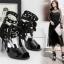 รองเท้าส้นสูงสีดำ/ดำ-ขาว ไซต์ 34-39 thumbnail 3