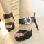 รองเท้าส้นสูงแบบสวยหรูสีดำ/ครีม ไซต์ 34-38 thumbnail 2