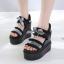 รองเท้าส้นเตารีดแบบเก๋สีดำ ไซต์ 34-39 thumbnail 1