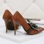 รองเท้าส้นสูงคัดชูปลายแหลมสีแดง/ดำ/เทา/น้ำตาล ไซต์ 34-39 thumbnail 7