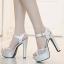 รองเท้าส้นสูงแต่งผ้าลูกไม้สวยสีเงิน/ทอง ไซต์ 34-39 thumbnail 3