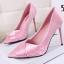 รองเท้าส้นสูงปลายแหลมผ้าซาตินสีชมพู/ดำ ไซต์ 34-39 thumbnail 6