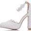 รองเท้าเจ้าสาวส้นหนาปลายแหลมสีขาว ไซต์ 36-41 thumbnail 5