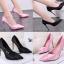 รองเท้าส้นสูงปลายแหลมผ้าซาตินสีชมพู/ดำ ไซต์ 34-39 thumbnail 1