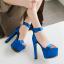 รองเท้าส้นสูงผ้าไหมเทียมสวยหรูสีม่วง/ฟ้า/แดง/ดำ ไซต์ 34-43 thumbnail 7