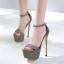 รองเท้าส้นสูงแบบเรียบแต่เก๋สีดำ/เทา ไซต์ 34-40 thumbnail 3