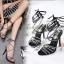 รองเท้าส้นสูงสายคาดติดคริสตัลสีน้ำตาล/ดำ ไซต์ 35-40 thumbnail 2