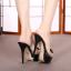 รองเท้าส้นสูงแบบสวมสีดำ/ชมพู ไซต์ 34-39 thumbnail 6