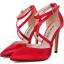 รองเท้าส้นสูงผ้าลินินเรียบแต่หรูสีดำ/แดง/ชมพูนู๊ด ไซต์ 35-40 thumbnail 9