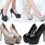 รองเท้าส้นสูงสีครีมมุกเปิดหน้า/สีดำ ไซต์ 34-38 thumbnail 1