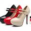 รองเท้าส้นสูงคัดชูหนังแก้วสีดำ/แดง/ครีม ไซต์ 34-43 thumbnail 11
