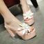 รองเท้าส้นสูงแบบสวมส้นหนาแต่งดอกไม้หรูๆสีดำ/ชมพูอ่อน/ชมพูเข้ม/ขาว/เงิน ไซต์ 34-43 thumbnail 6