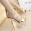 รองเท้าส้นสูงส้นแก้วคริสตัลแบบสวมสีทอง/ขาว ไซต์ 34-39 thumbnail 2