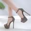 รองเท้าส้นสูงแบบเรียบแต่เก๋สีดำ/เทา ไซต์ 34-40 thumbnail 6