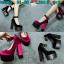 รองเท้าส้นสูงสีชมพู/ดำ ไซต์ 34-38 thumbnail 1