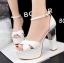 รองเท้าส้นสูง ไซต์ 34-39 สีดำ สีแดง สีขาว สีเนื้อ สีเทา สีเงิน thumbnail 11