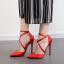 รองเท้าส้นสูงผ้าลินินเรียบแต่หรูสีดำ/แดง/ชมพูนู๊ด ไซต์ 35-40 thumbnail 5