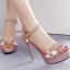 รองเท้าส้นสูงแต่งดอกไม้สีชมพู/ดำ/ขาว ไซต์ 34-39 thumbnail 2