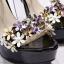 รองเท้าส้นสูงแต่งดอกไม้สีชมพู/ดำ/ขาว ไซต์ 34-39 thumbnail 8