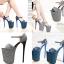 รองเท้าส้นสูง 7.6 นิ้ว สีน้ำเงิน/เทา ไซต์ 34-43 thumbnail 1