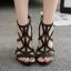 รองเท้าส้นสูงสายไขว้สีชมพู/ดำ ไซต์ 35-40 thumbnail 4