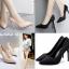 รองเท้าส้นสูงปลายแหลมผ้าย่นสีโอรส/ดำ ไซต์ 35-39 thumbnail 1