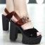 รองเท้าส้นสูง ไซต์ 35-39 สีดำ/น้ำตาล thumbnail 2