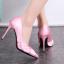 รองเท้าส้นสูงปลายแหลมผ้าซาตินสีชมพู/ดำ ไซต์ 34-39 thumbnail 5