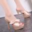 รองเท้าส้นสูงแบบสวมสีชมพู/แดง/ดำ ไซต์ 34-39 thumbnail 4