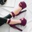 รองเท้าส้นสูงผ้าไหมเทียมสวยหรูสีม่วง/ฟ้า/แดง/ดำ ไซต์ 34-43 thumbnail 4