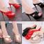 รองเท้าส้นสูงแบบสวมสีชมพู/แดง/ดำ ไซต์ 34-39 thumbnail 1