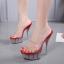 รองเท้าส้นแก้วใสเล่นระดับสีด้านในส้นแต่งเกร็ดเพชรสีแดง/ดำ/ขาว ไซต์ 34-40 thumbnail 2