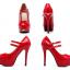รองเท้าส้นสูงคัดชูหนังแก้วสีดำ/แดง/ครีม ไซต์ 34-43 thumbnail 8