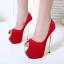รองเท้าส้นสูงเปิดหน้าสีแดง/ดำ ไซต์ 35-40 thumbnail 4