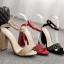 รองเท้าส้นสูงแต่งคริสตัลเม็ดเล็กสวยหรูสีดำ/แดง/ครีม ไซต์ 35-40 thumbnail 7