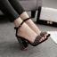 รองเท้าส้นสูงแต่งคริสตัลเม็ดเล็กสวยหรูสีดำ/แดง/ครีม ไซต์ 35-40 thumbnail 4