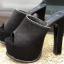 รองเท้าส้นสูงแบบสวมสีดำเสริมหน้าเยอะเดินสบาย ไซต์ 34-38 thumbnail 2