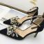 รองเท้าส้นสูงปลายแหลมแต่งมุขสวยหรูใส่ออกงานได้เลย สีครีม/ดำ ไซต์ 34-38 thumbnail 7